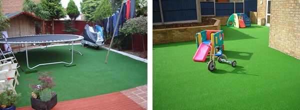 Trampoline & Childrens Slide and bike on Artificial Grass