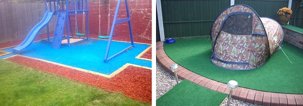 Childrens Slide & Swing set & A Tent on artificial Grass